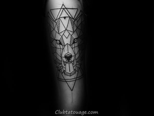 Impressionnant géométriques Tatouages de loup pour les hommes avec Triangles sur Inner Forearm
