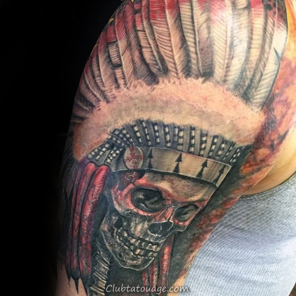 Awesome moitié manches indiennes Skull Tattoos Pour Gentlemen
