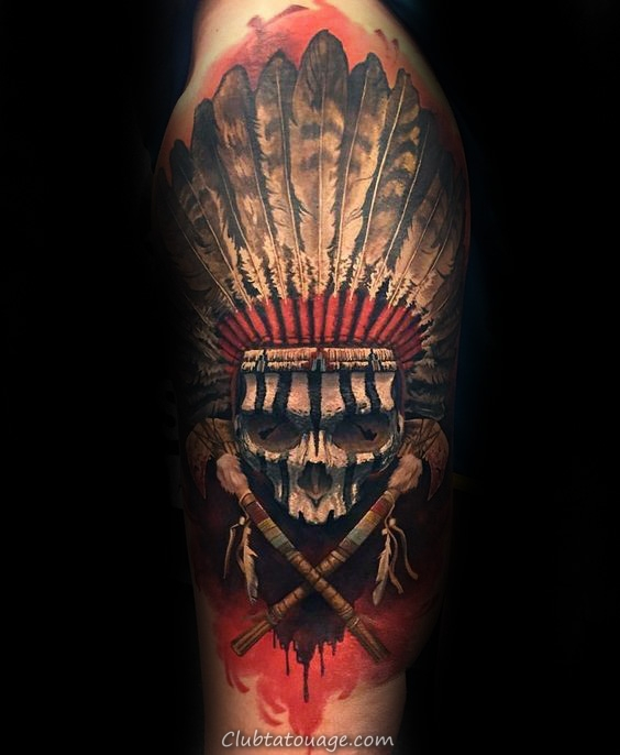 awesome-indian-skull-mens-half-sleeve-tattoo-ideas-with-native-american-design