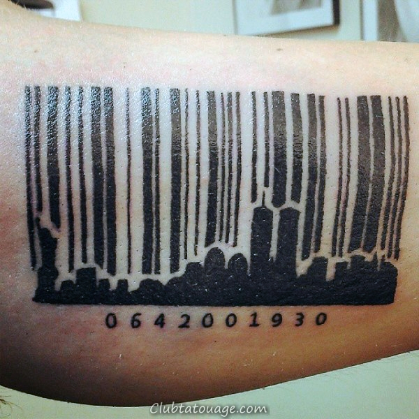 Barcode City Skyline Mens Tattoo Sur Arm