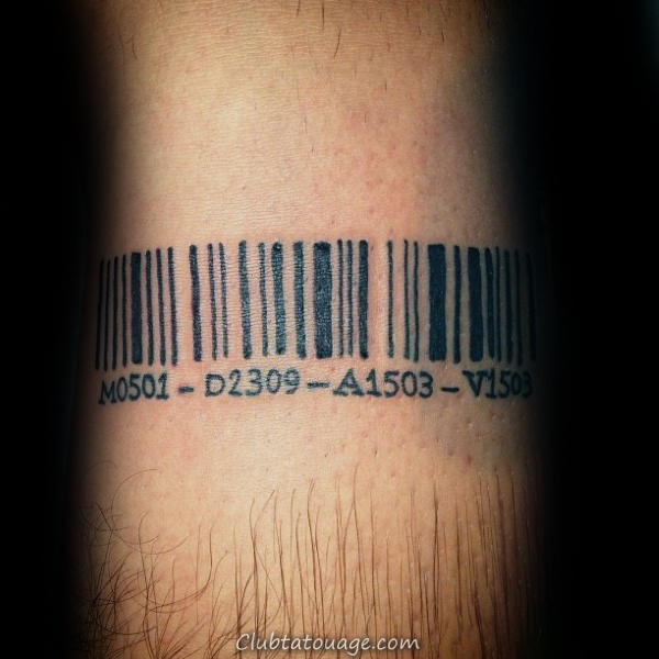 Barcode Symbole avec des chiffres Homme Armband Tattoo