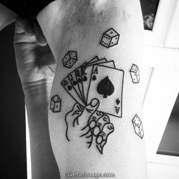Black Ink Outline Playing Card Petit Mens Wrist Tattoos