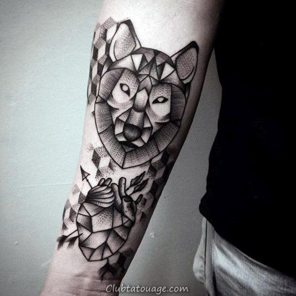noir et gris géométrique Loup Shaded Hommes Inner Forearm Tattoo Ideas
