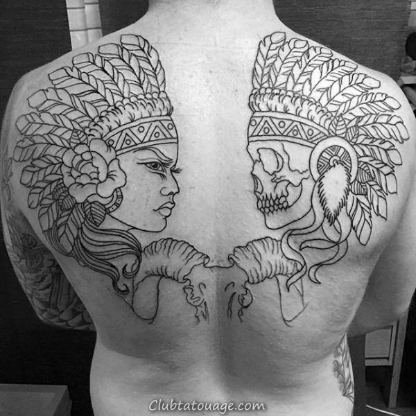 Black Contour d'encre Femme Portrait Avec Crâne indien Hommes Retour Tattoos