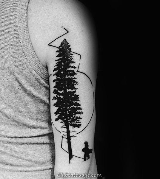 Noir pin Et Snowboard Tattoo Homme Arms