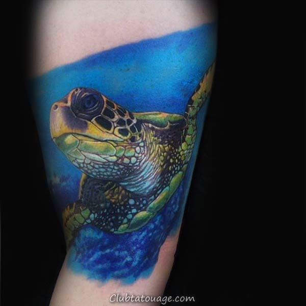 encre bleue Tortue Aquarelle Hommes Arm Tattoo Design Ideas