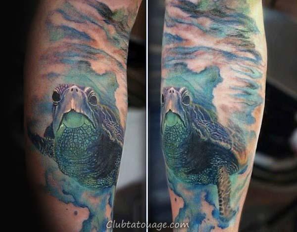 bold noir tortue d'encre tribales Idées de tatouage Homme