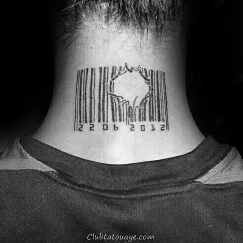 Broken Lines Barcode Neck Tatouages Pour les hommes