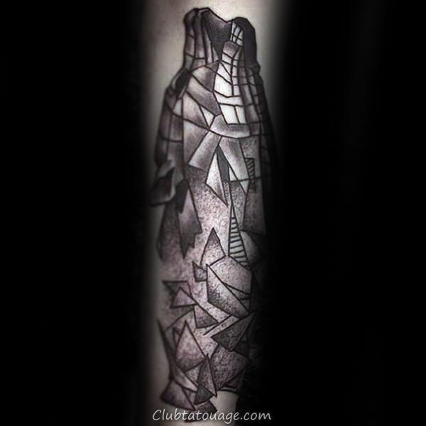 Broken formes géométriques loup tatouages pour les hommes