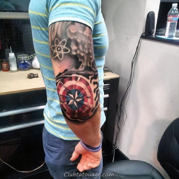Captain America Shield Tattoo Sur Man Avec Ironman Et Incredible Hulk Design