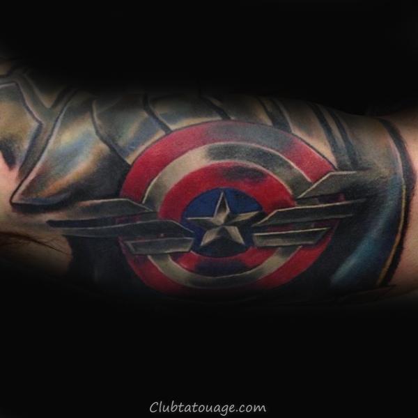 Captain America Lancer Shield Forearm Tattoo For Men