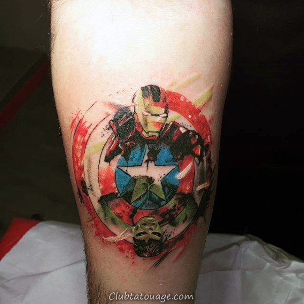 Colorful pied Homme Captain America Tattoo Designs