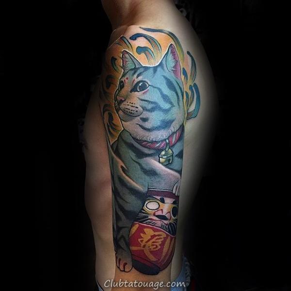 Cat chrysanthème Fleur Hommes Aquarelle demi Tatouages manches
