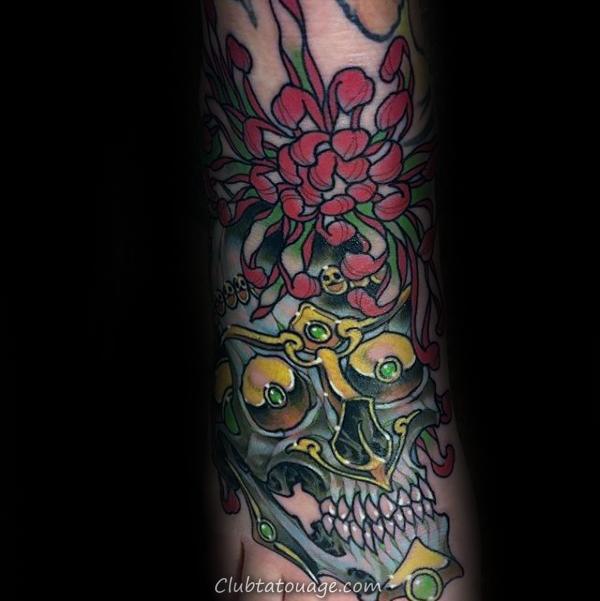 fleur de chrysanthème Avec Tattoo pied Skull Hommes