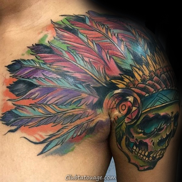 colorful-indian-skull-mens-watercolor-arm-and-shoulder-tattoo