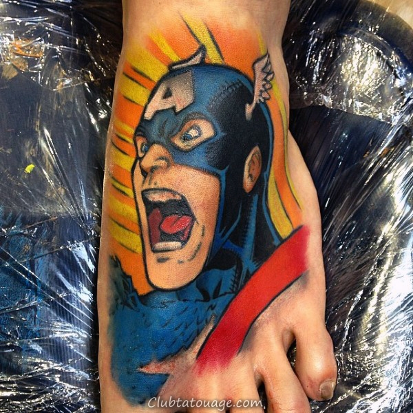 cool Captain America Forearm Guys manches Tatouages