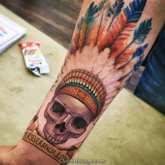 Colorful Homme Inner Forearm Indian Skull Tattoo Design Ideas