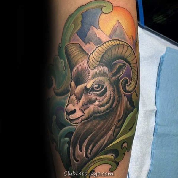 Colorful Ram Ornement Hommes Arm Tattoos