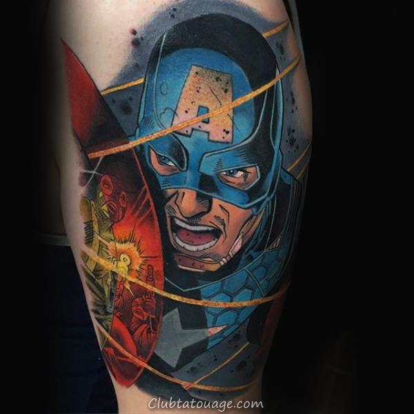 Cool Aquarelle main Tattos pour les hommes avec Captain America Shield