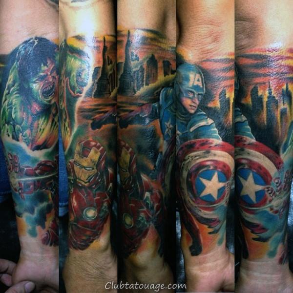 Creative Red And Blue Ink Captain America Arm Mens Tattoo