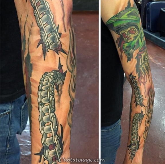 cool Chain Guys Motocross Tattoo Designs Sleeve