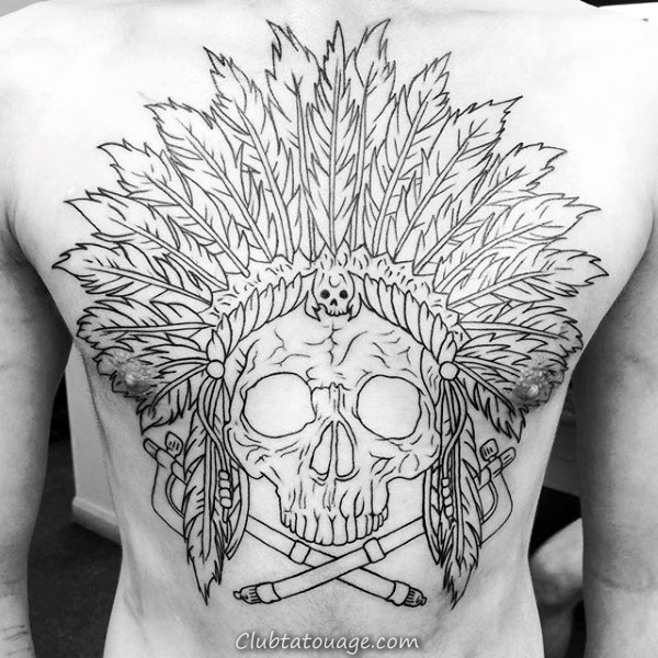 Tattoo Skull Guys Indian Retour Cool With Black Ink Outline Design