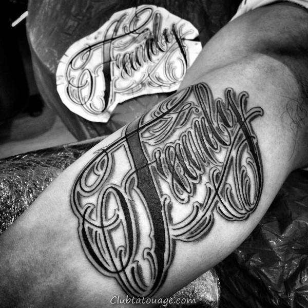Refroidir Script Outer Forearm Shaded Tatouages Pour les hommes