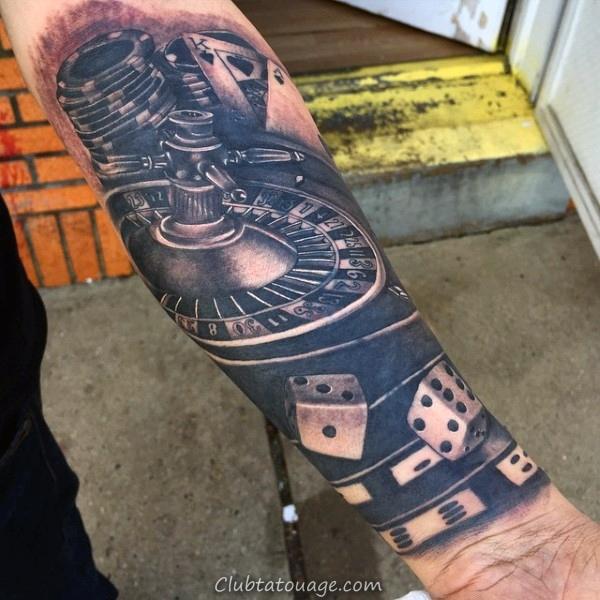 Mens cool Playing Card Idées 3d de tatouage sur l'avant-bras