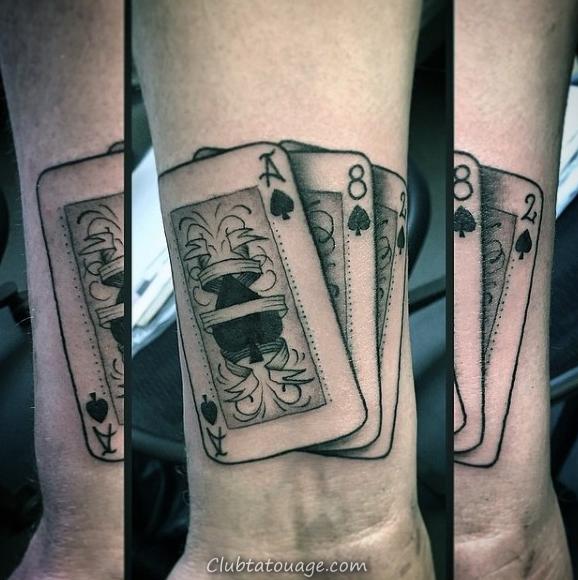 90 Playing Card Tatouages pour les hommes - Design Ideas chanceux