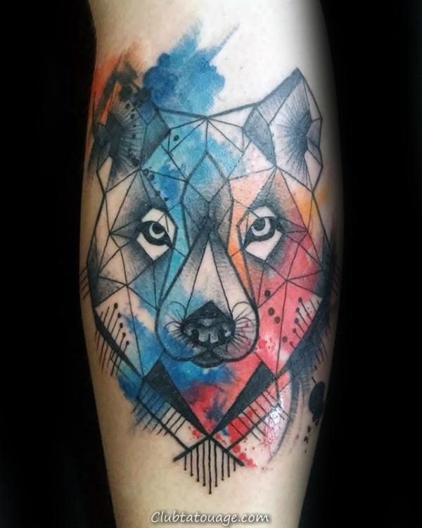 Tattoo Refroidir Aquarelle géométrique Loup Mens Arm Designs