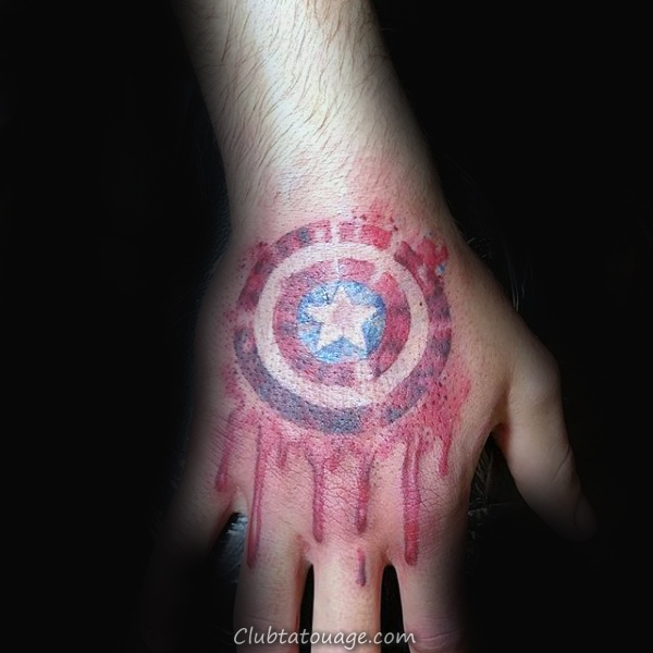 width détaillée Tattoo Captain America Mens Leg