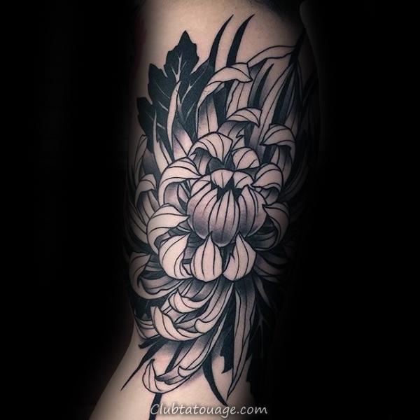 Creative Chrysanthemum Inner Arm Noir Et Tattoo Espace Hommes Bras négatif