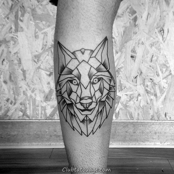Creative Mens géométrique Loup Leg Calf Tattoo