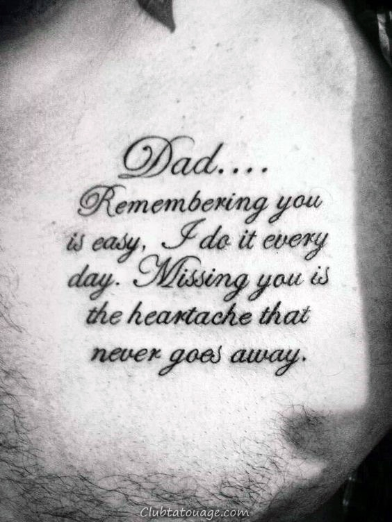 papa miss You Quote Tattoo Sur Guys Chest