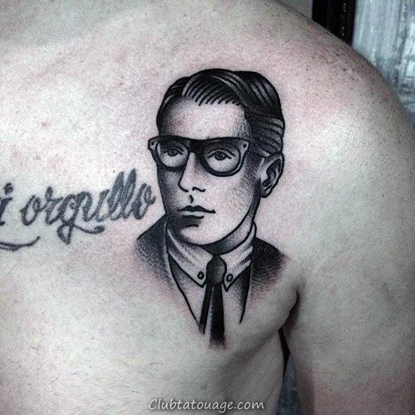 papa Avec Lunettes Tattoo Guys Chest