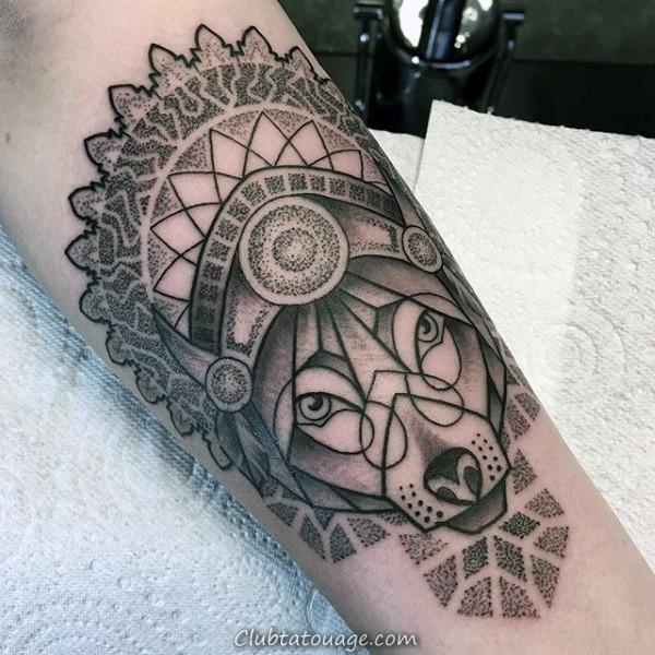 décoratifs Dotwork Homme géométriques Loup Arm Tattoo Ideas