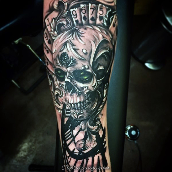 Dice Avec Jeu de cartes Hommes Inner Arm Tattoo Design Ideas