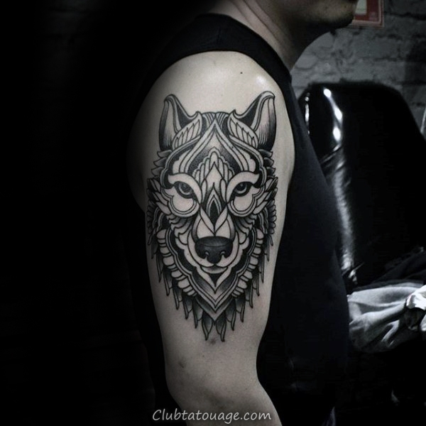 Decorative Guys géométrique Loup Upper Arm Tattoo