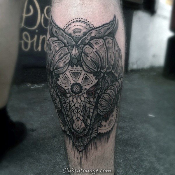 Mens Decorative Back Of Leg Calf Ram Design Tattoo Inspiration