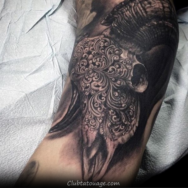 Decorative Ram Skull Hommes étonnants Inner Arm Tattoos