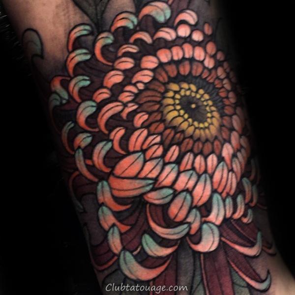 width Tattoo Colorful détaillée Chrysanthemum 3d Mens Arm