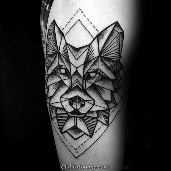 Diamond Formes géométriques Loup Homme Tattoo Le Bras