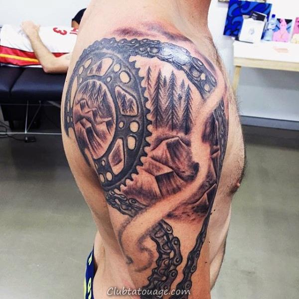 Dirt Bike Rampes Motocross Homme Upper Tattoo Arm Avec 3d Chain