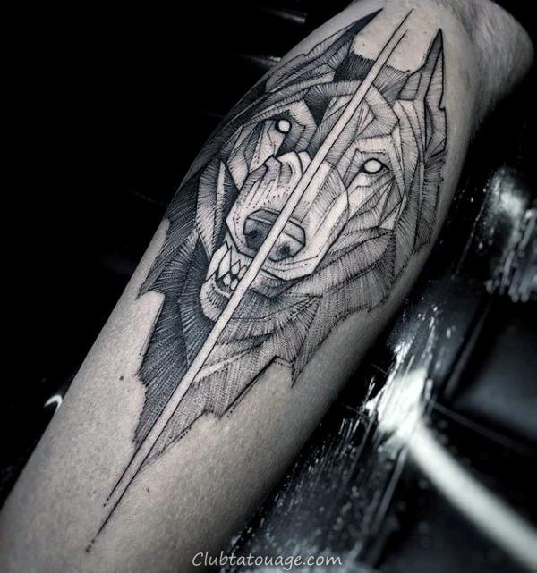 Divided géométriques Loup Hommes Leg Tatouages 