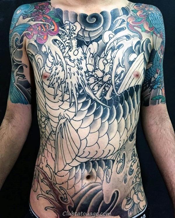 dragon japonais Chrysanthème fleur Hommes poitrine pleine Tattoos