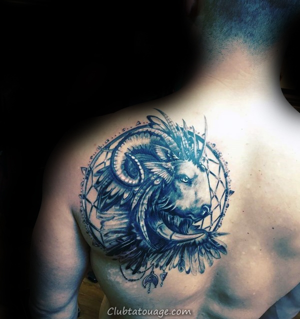 Dreamcatcher Ram Mens omoplate Tattoo