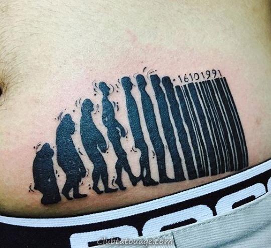 Evolution Barcode Mens Tattoo sur le ventre