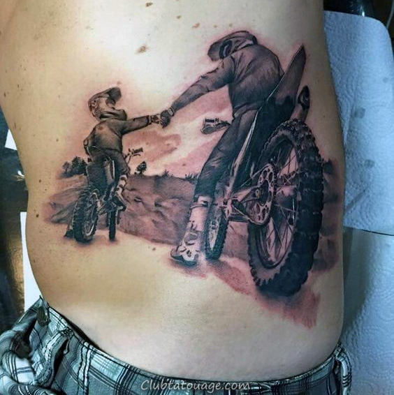 Father And Son Motocross Riders Hommes Cage thoracique Tattoos