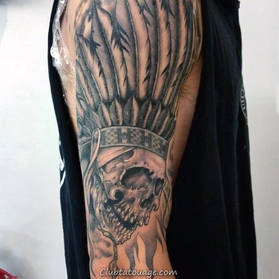feathers-indian-skull-mens-arm-tattoo-ideas
