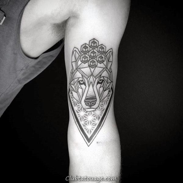 Fleur de vie géométriques Loup Tatouages pour les gars sur Biceps du bras intérieur
